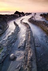 Atardecer en la playa de Barrika, Vizcaya