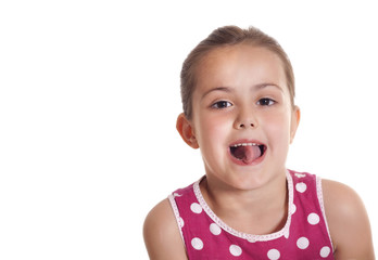 cutte little girl making a funny face