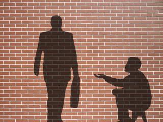 ombre de mendiant et businessman
