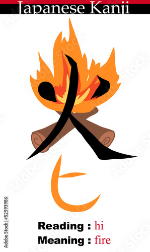 Japanese Kanji Illustration-Fire