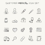 Sketched medical icon set