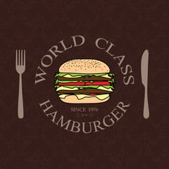 world class burger label