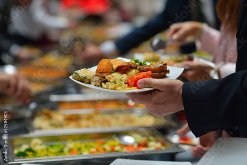 Staande foto Buffet, Bar buffet food
