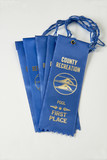 Collection of blue first place swim ribbons