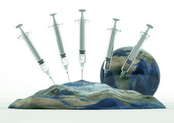 Earth deflated by syringes