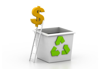Recycling dollar symbol