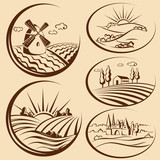 Agriculture landscape and  cereal  harvest labels