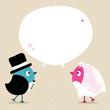 Birds Groom & Bride Speech Bubble Retro