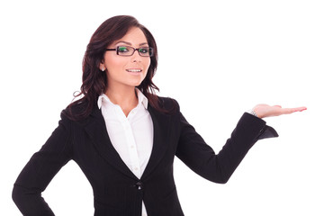 business woman holding palm out