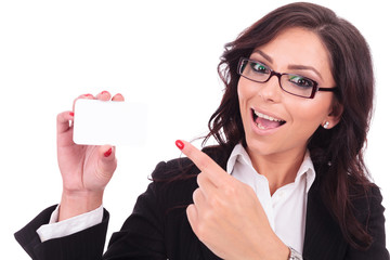 business woman presents card