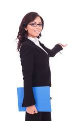 business woman with clipboard presents