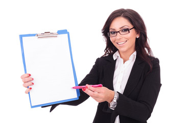 business woman presents clipboard