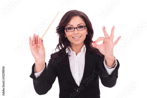 business woman conducts smilingly