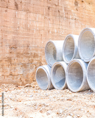 concrete water pipes stacked