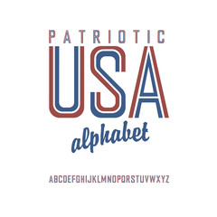 American flag themed alphabet. Vector