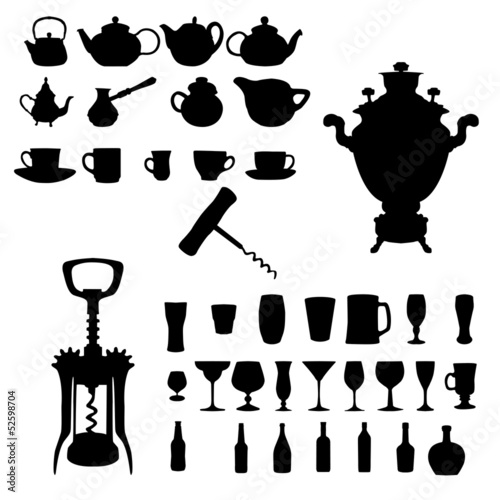 Silhouette of drinks. Cafe icons.