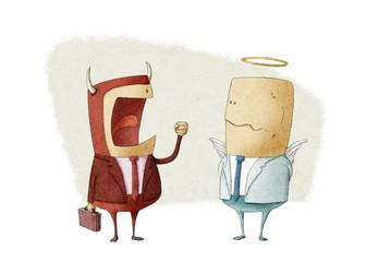 angry demon businessman shouting an angel businessman