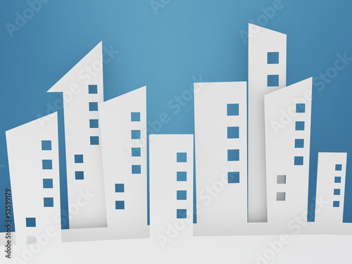 paper building shapes on blue background