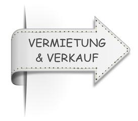 Schild Pfeil Vermietung und Verkauf