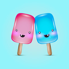 Vector colorful popsicle ice-cream