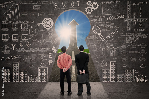 Business partner look at marketing success concept