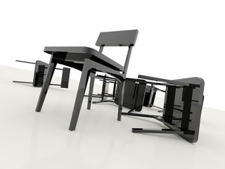 Chairs overturned isolated