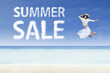Girl jump and summer sale cloud
