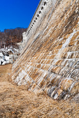 old wall of water dam