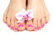 pink pedicure with a orchid flower - 52600727