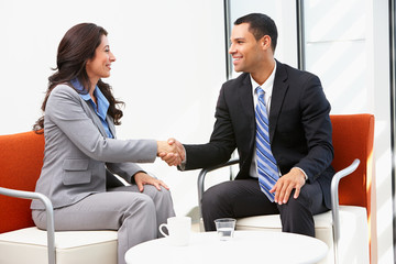 Businessman And Businesswoman Shaking Hands After Meeting