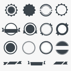 Set of gray empty labels. Vector