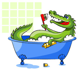 Crocodile in a bathtub