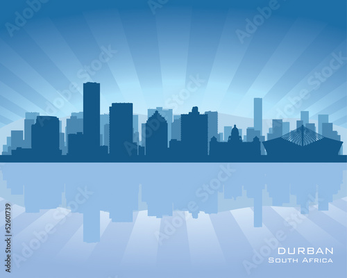 Durban South Africa city skyline silhouette