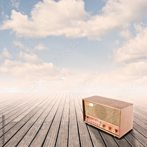 retro radio on pier