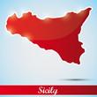 shiny icon in form of Sicily island, Italy