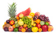 Huge group of fresh fruits isolated on a white background.
