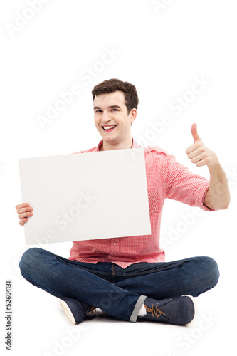 Guy with blank sign showing thumbs up