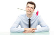 Businessman biting flower