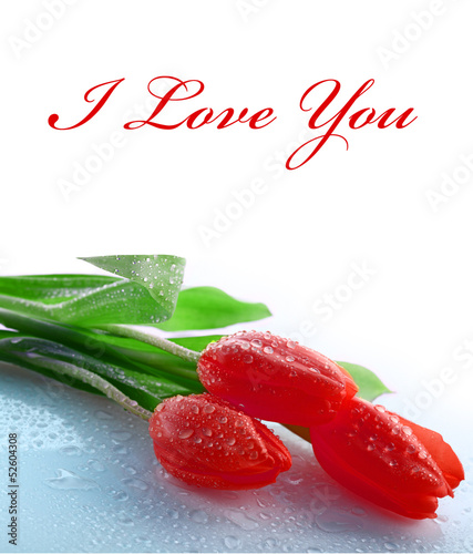 Flowers tulips - I love you - card