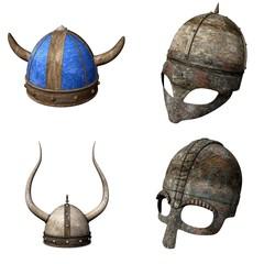collection of 3d renders - helmets