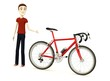 3d render of cartoon character with bicycle