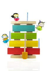 Kids xylophone isolated on white and decorated