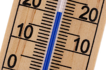 Oblique close up of Mercury room thermometer