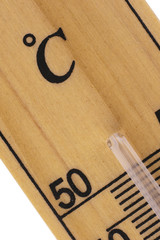 Oblique close up of thermometer in celsius scale