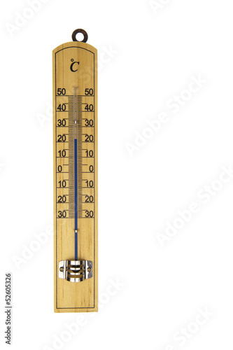 Conventional thermometer isolated in white