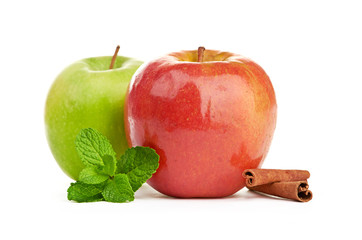 Red and green apples and mint, cinnamon sticks