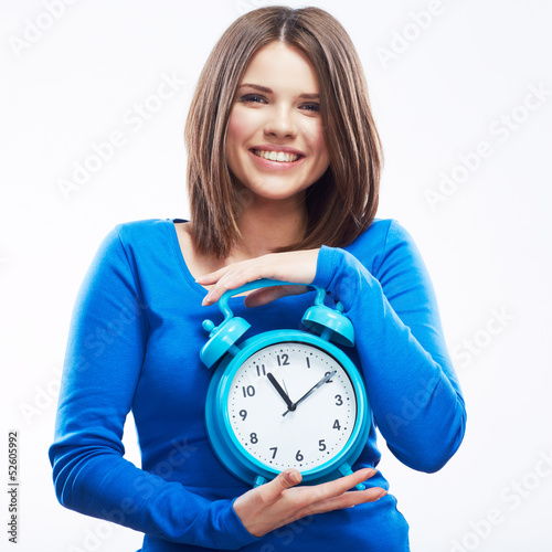 Woman hold watch on white background. Isolated female model.