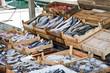 Vente de poisson frais sur un port - Bodrum, Turquie