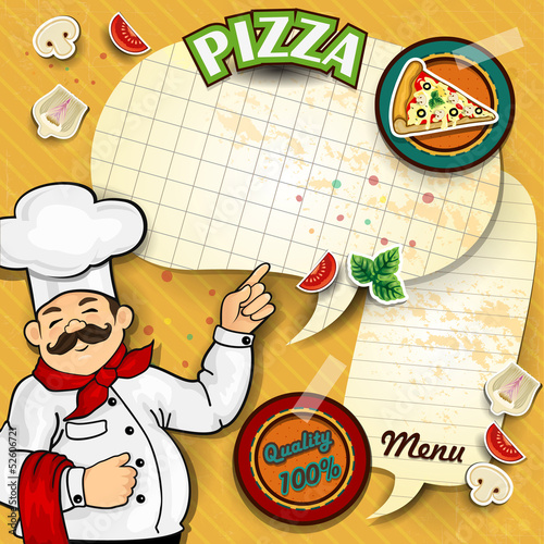 Chef pizza menu paper