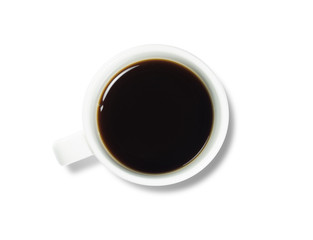 White cup coffee on isolated